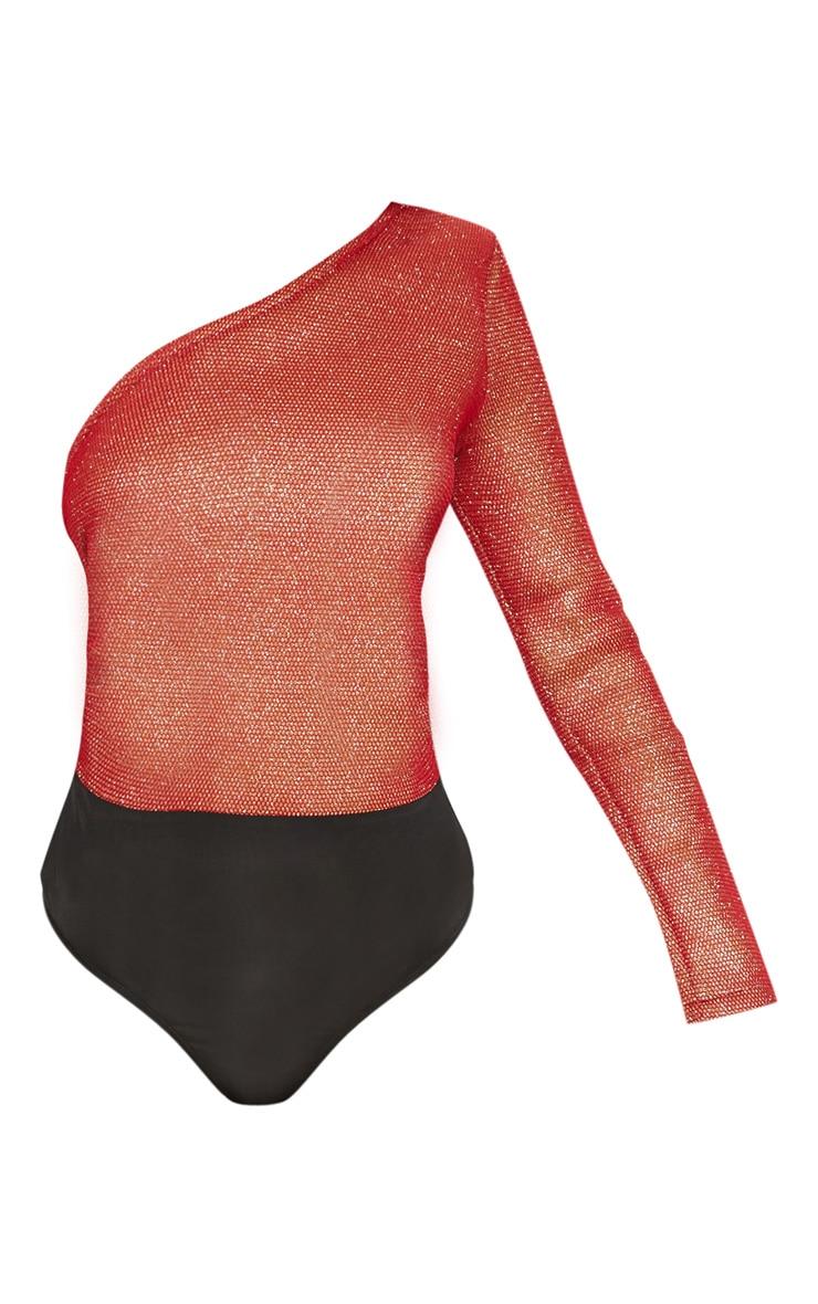 Red One Shoulder Glitter Mesh Bodysuit 2