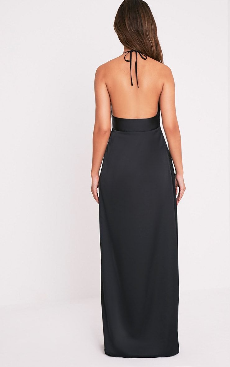 Lucie Black Silky Plunge Extreme Split Maxi Dress 2
