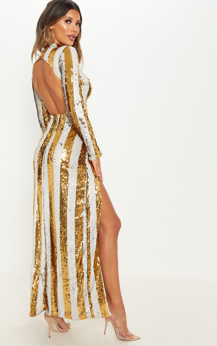 Gold Stripe Sequin Backless Maxi Dress 2