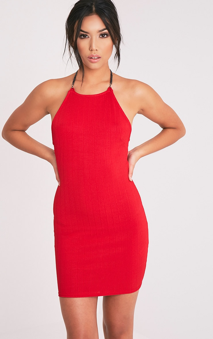 Amarnia Red Chain Back Betail Bodycon Dress 3