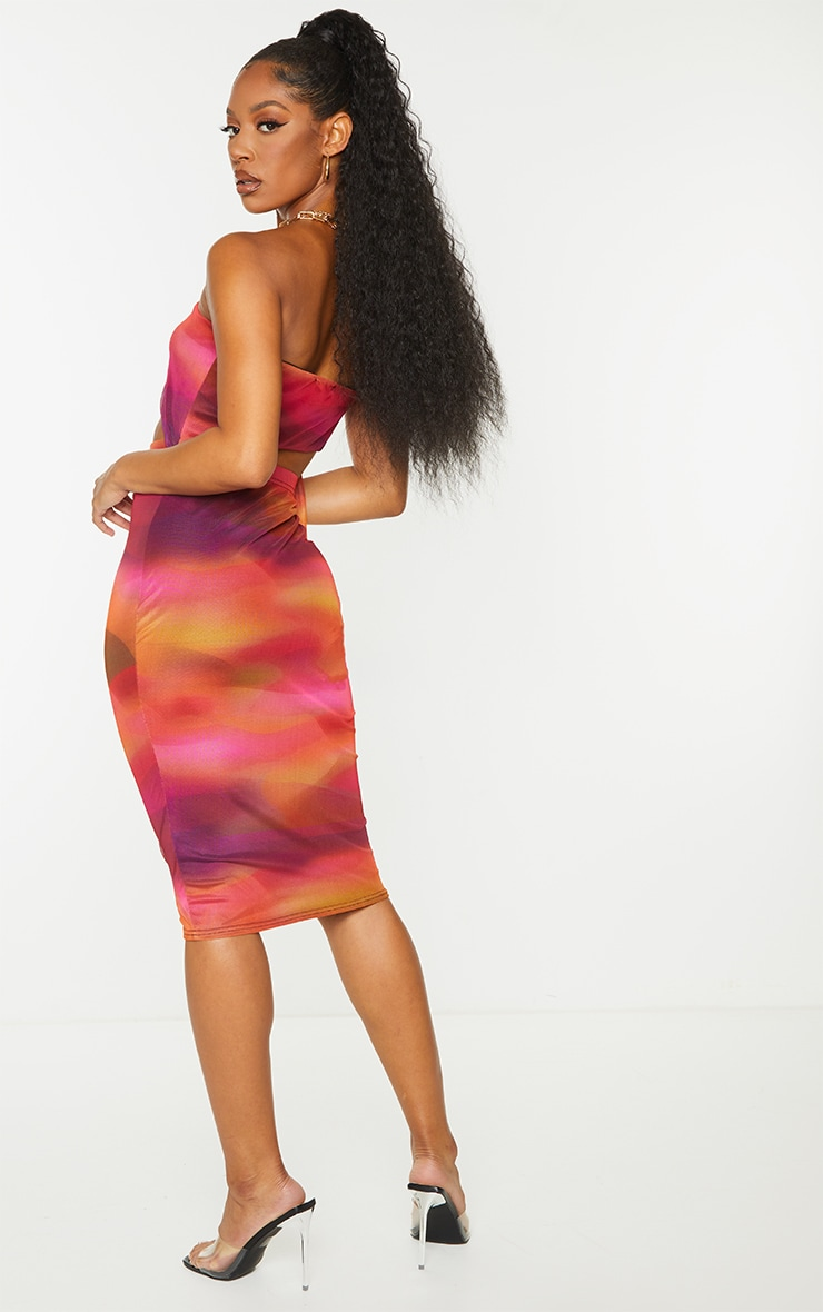 Pink Abstract Print Mesh Bandeau Cut Out Midi Dress 2