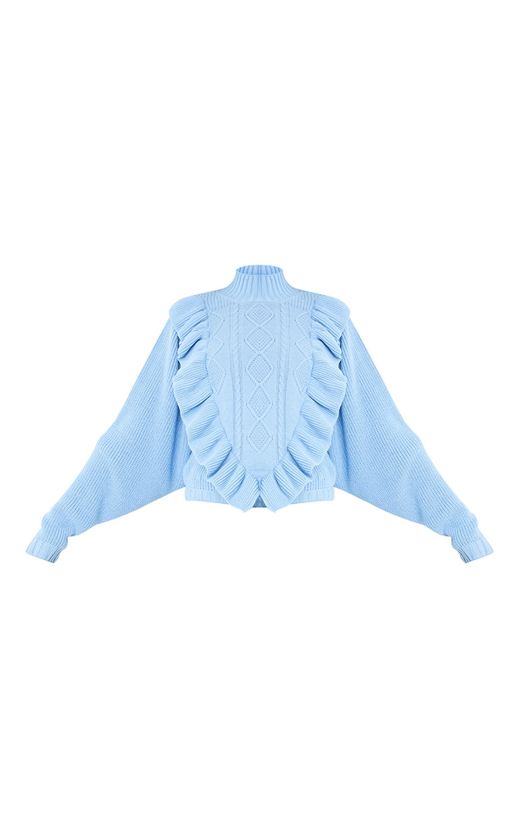 Baby Blue Frill Cable Turtle Neck Jumper 5
