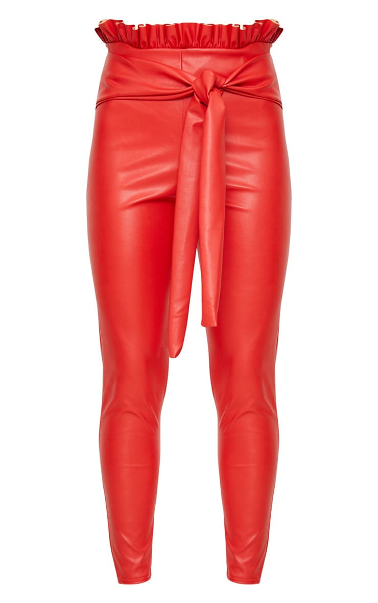 Red Faux Leather Paperbag Waist Skinny Trousers 3
