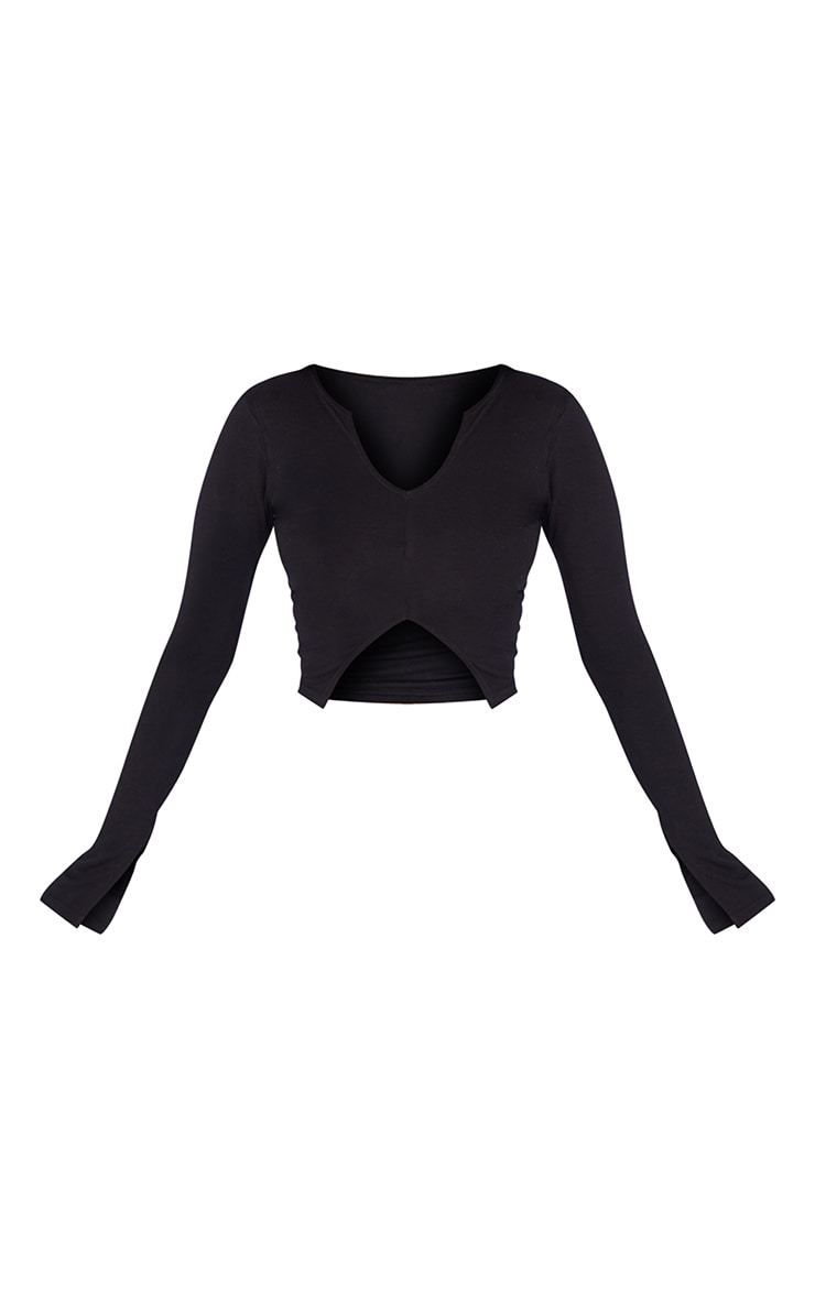 Petite Black Jersey Split Front Crop Top 5