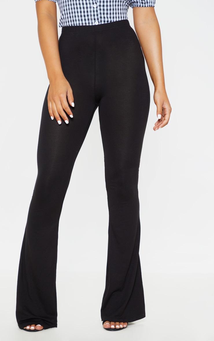 Petite Basic Black Jersey Wide Leg Flares  2