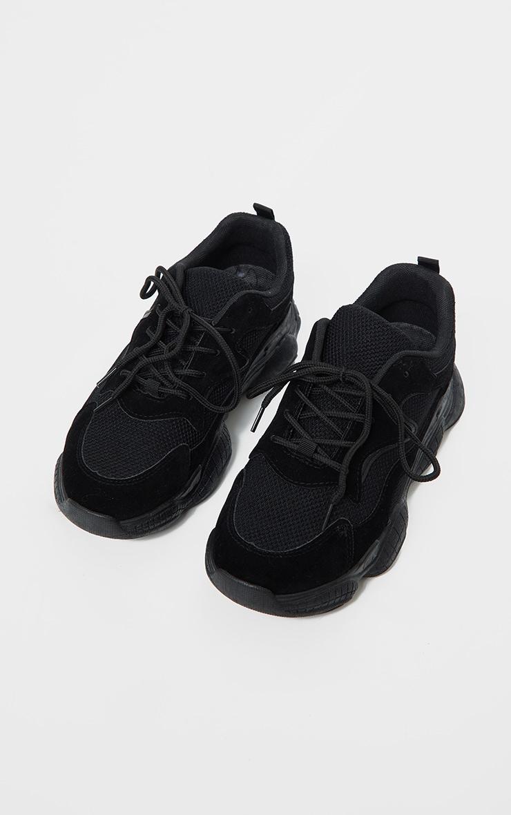 Black Double Bubble Sole Lace Up Sneaker 3