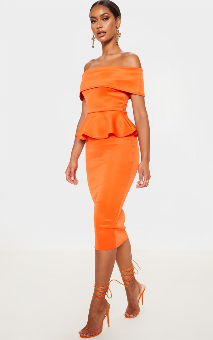 Bright Orange Bardot Peplum Detail Midi Dress