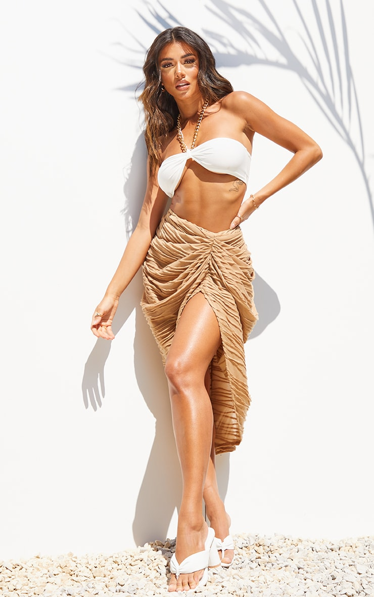 Stone Textured Dip Waist Ruched Midi Skirt 1