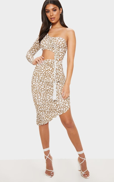 Brown Leopard Print One Shoulder Cut Out Bodycon Dress