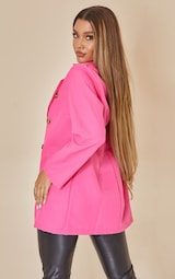 Hot Pink Shoulder Padded Double Breasted Blazer 2