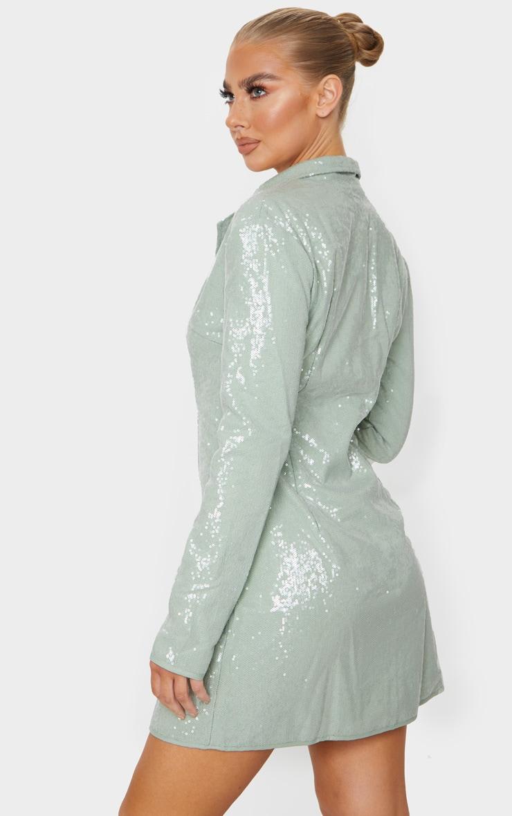 Sage Green Sequin Blazer Dress 2
