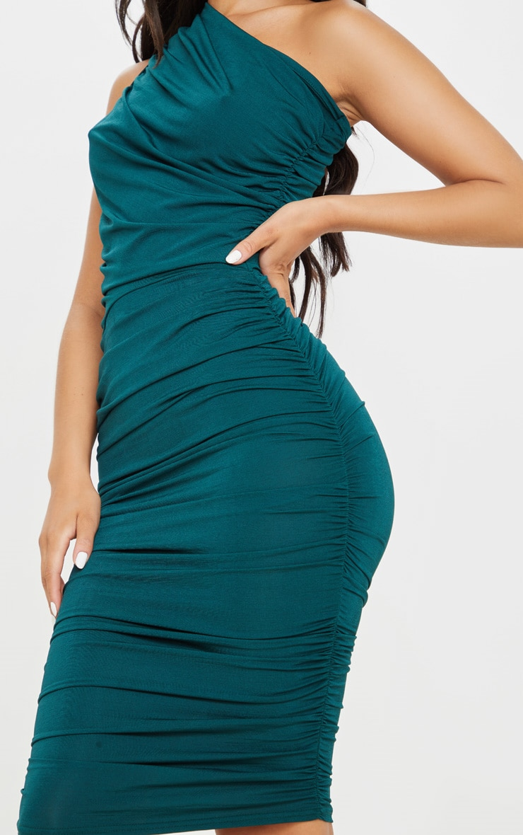 Emerald Green Slinky Ruched One Shoulder Longline Midi Dress 5