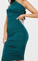 Emerald Green Slinky Ruched One Shoulder Longline Midi Dress 5