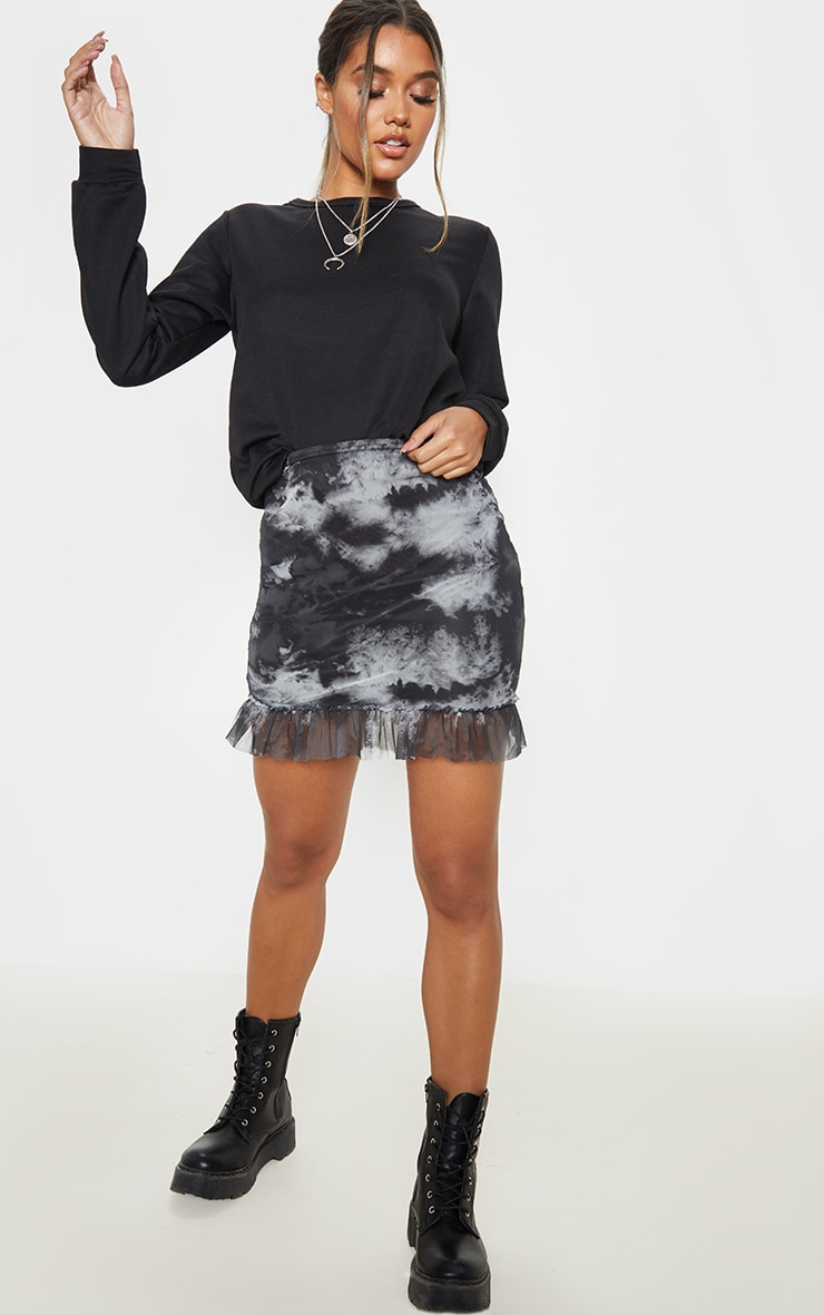 Black Mesh Tie Dye Frill Hem Mini Skirt 5