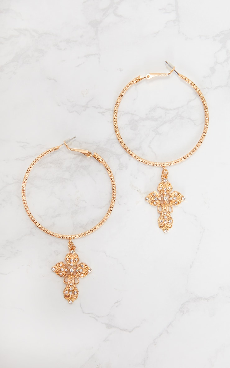 Gold Hoop Cross Diamante Earrings 4