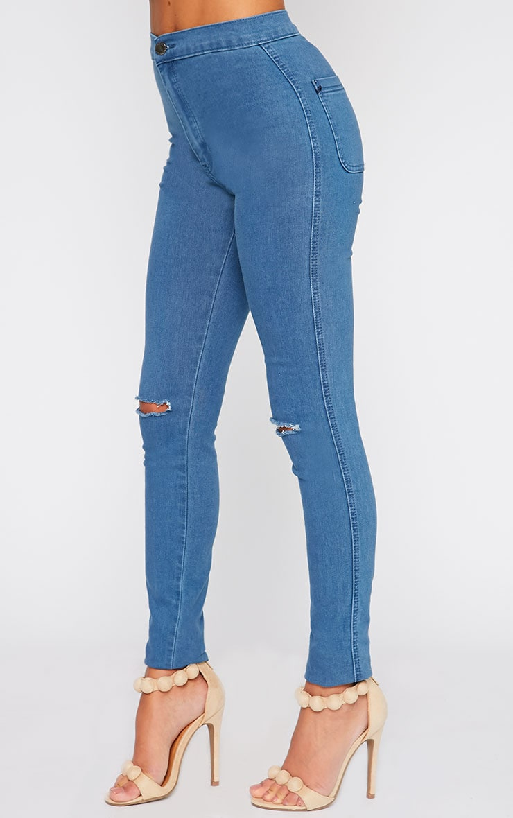Mari Blue Wash High Waist Ripped Skinny Jean  3