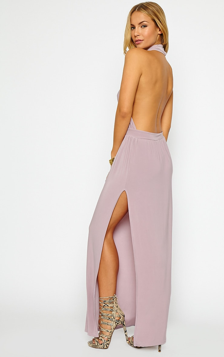 Satina Lilac Halterneck Maxi Dress 1