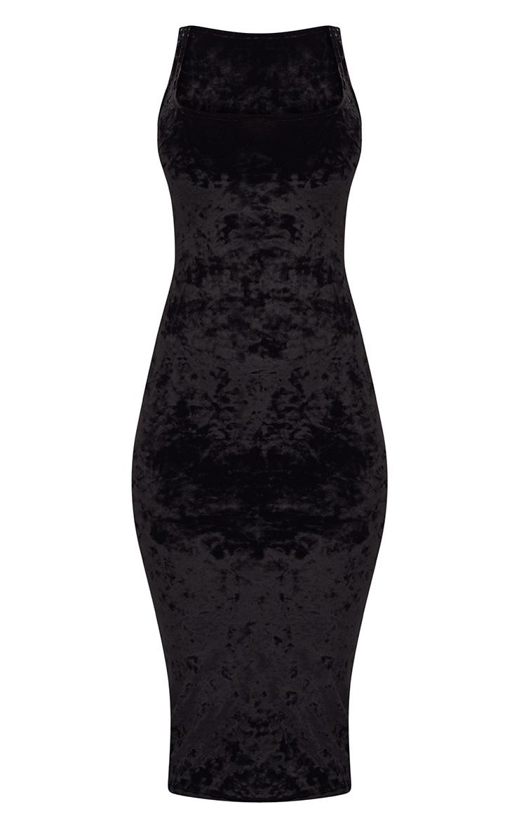 Black Square Neck Velvet Midaxi Dress 3