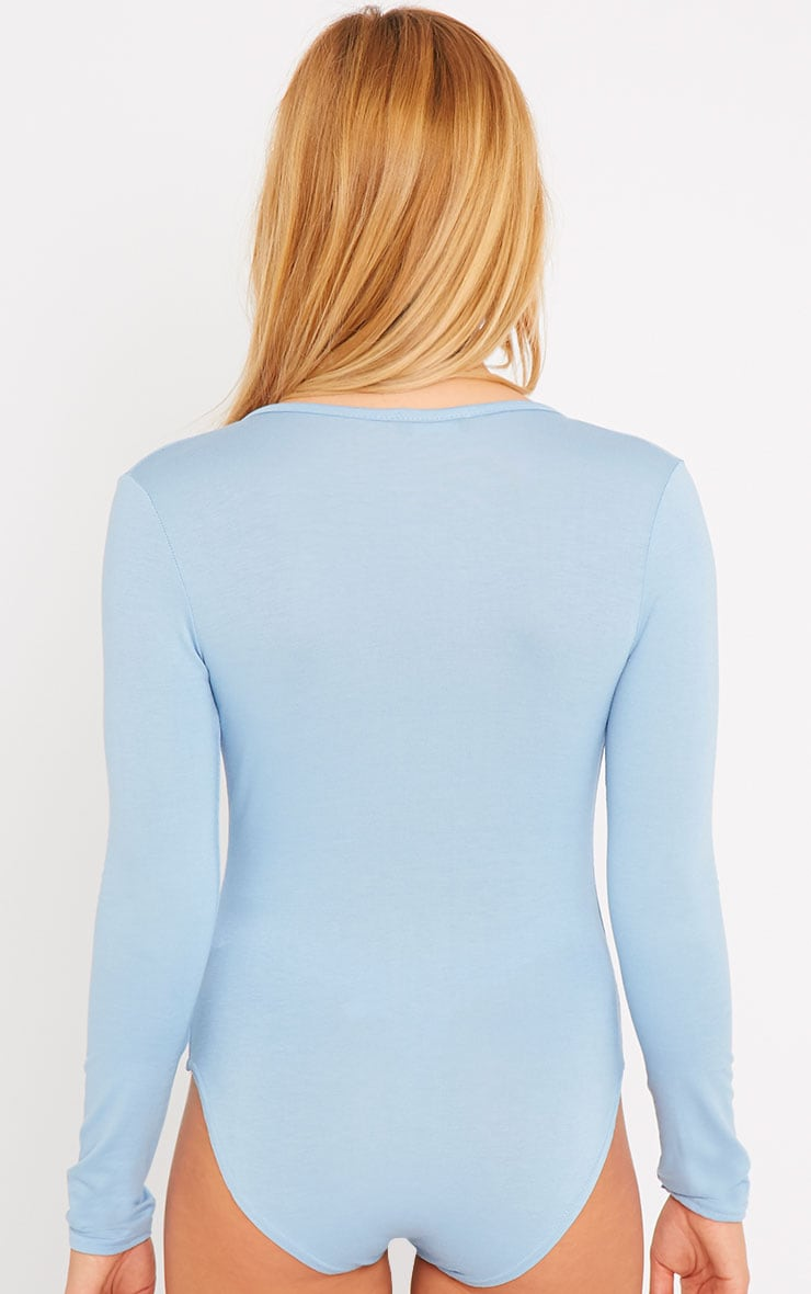 Freida Powder Blue Wrap Over Plunge Bodysuit 2