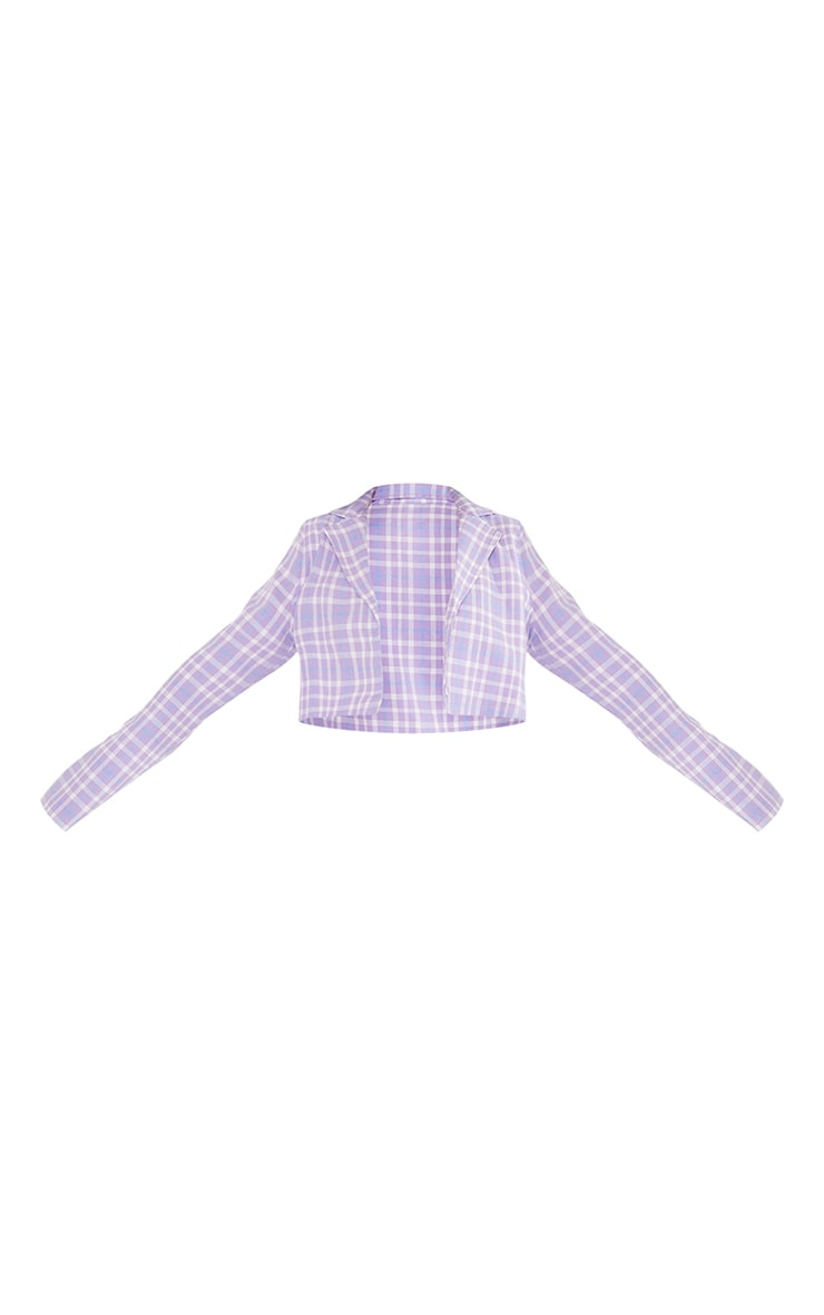 Petite Lilac Cropped Checked Blazer 5