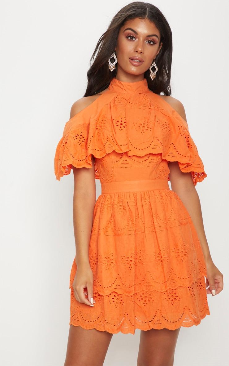 3b1e0191d096 Bright Orange Broderie Anglaise Cold Shoulder Skater Dress image 1