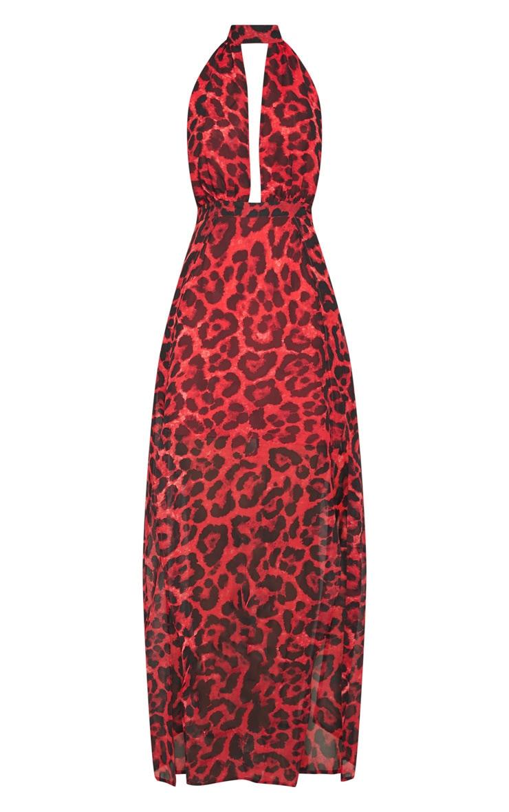 Robe longue rouge à imprimé léopard 3