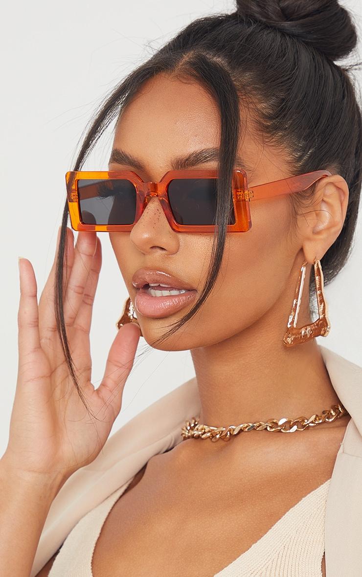 Orange Chunky Square Frame Sunglasses 1