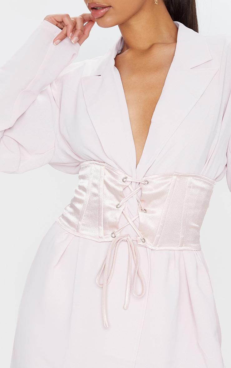 Light Pink Woven Lightweight Oversized Satin Tie Belt Blazer 4
