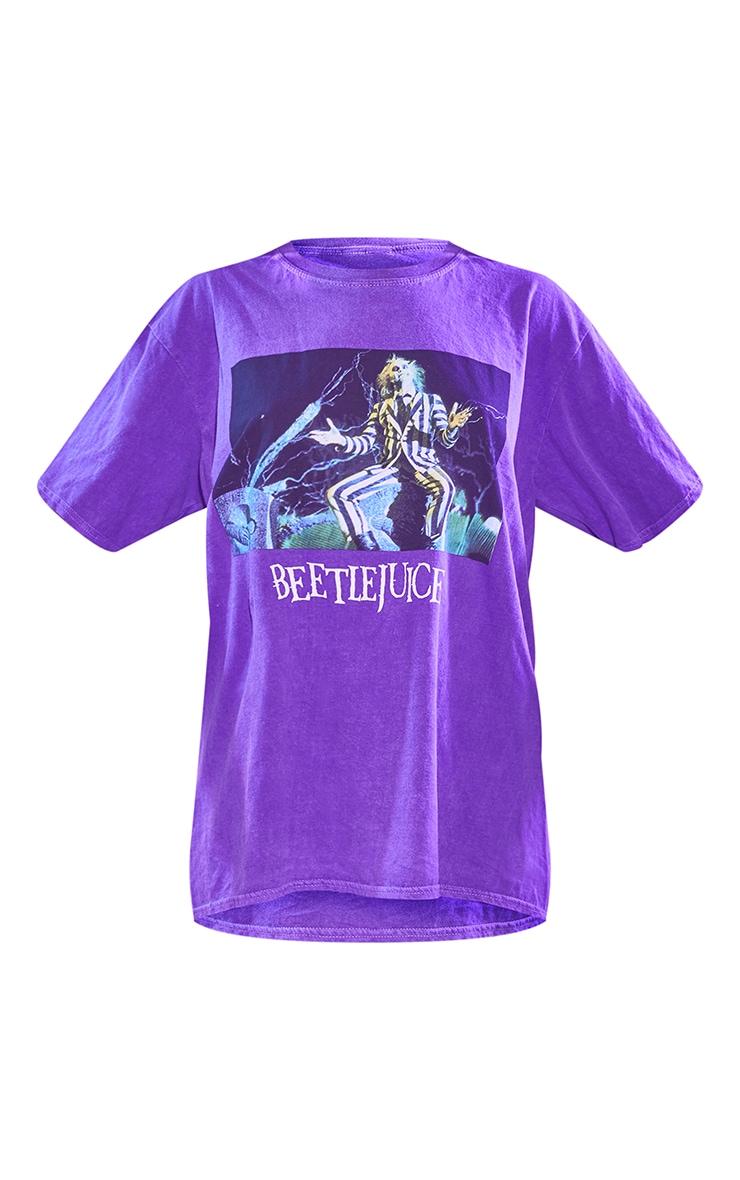 Purple Beetlejuice Halloween Washed Printed T Shirt 5