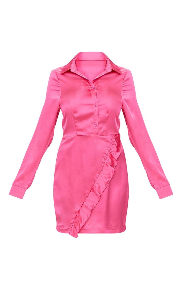 Hot Pink Frill Detail Shirt Dress 3