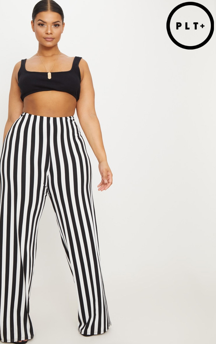 Plus Black High Waisted Crepe Stripe Wide Leg Trouser 1