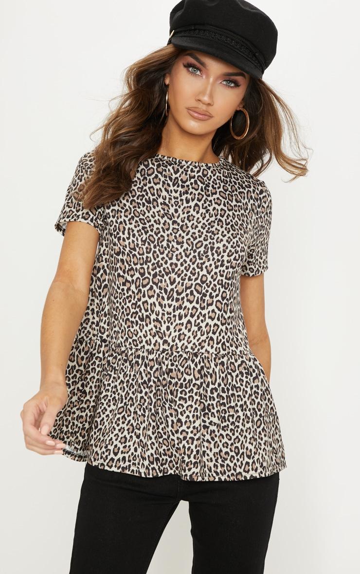Tan Leopard Print Frill Peplum Top 1