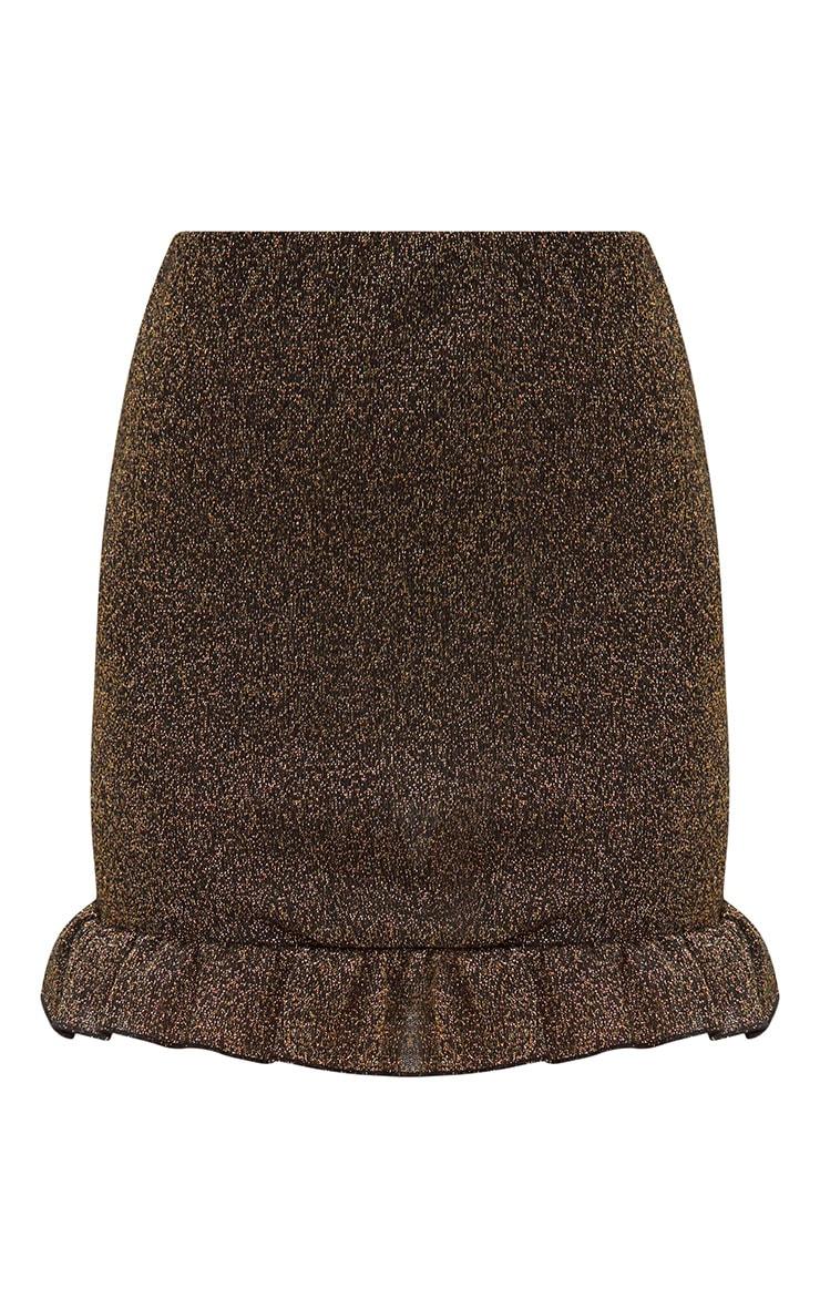 Gold Glitter Frill Hem Mini Skirt 3