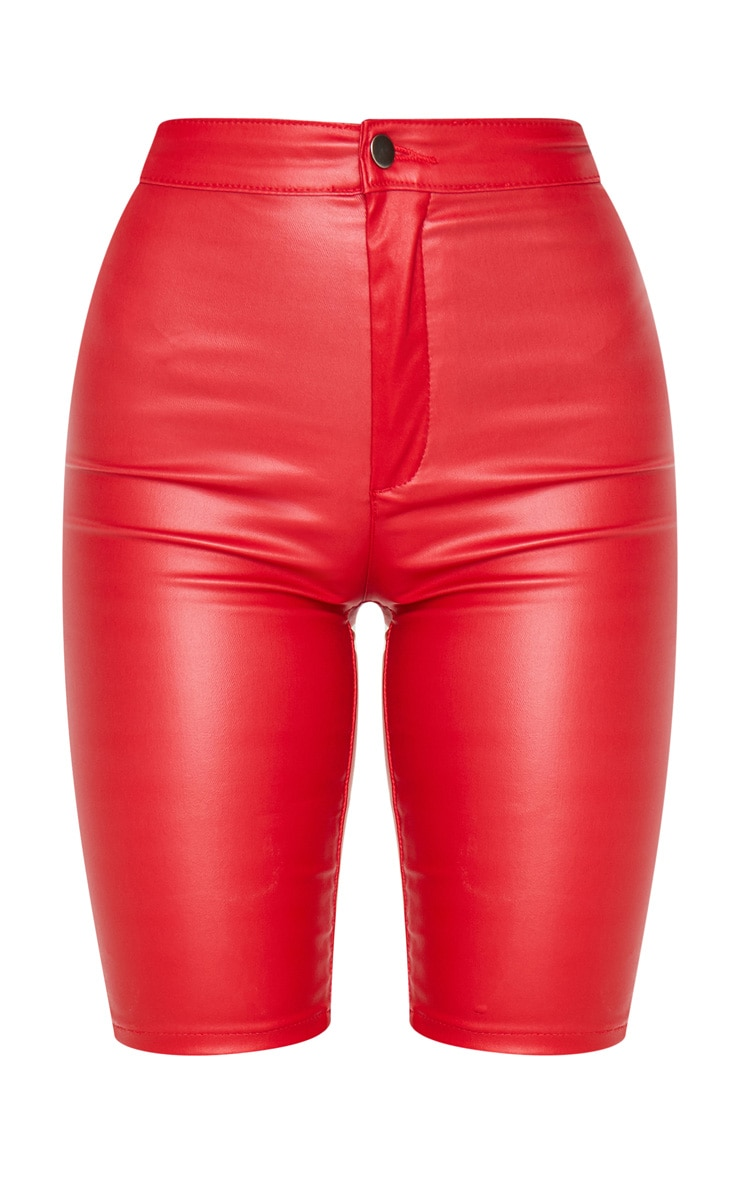 Red Coated Cycling Shorts 6