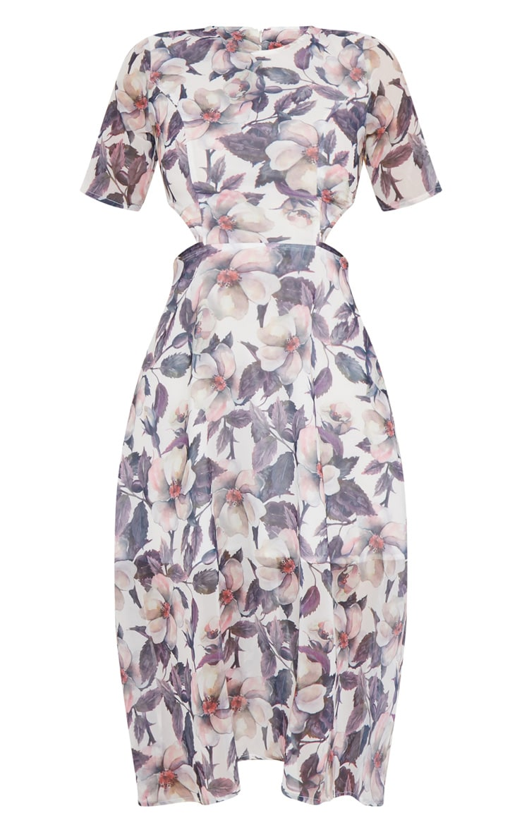 Grey Floral Cap Sleeve Cut Out Midi Dress 3