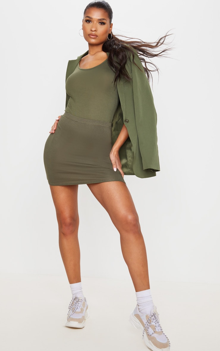 Basic Khaki Jersey Mini Skirt 1