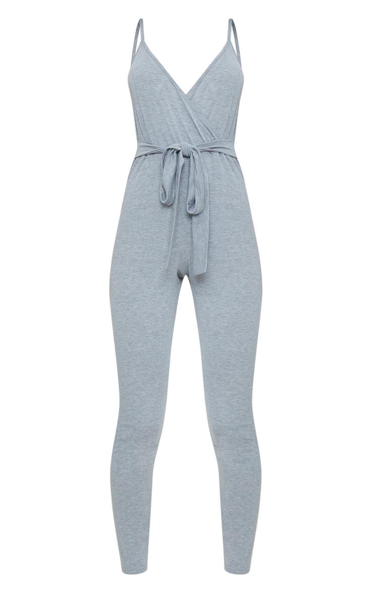 Grey Marl Jersey Wrap Tie Waist Jumpsuit 3