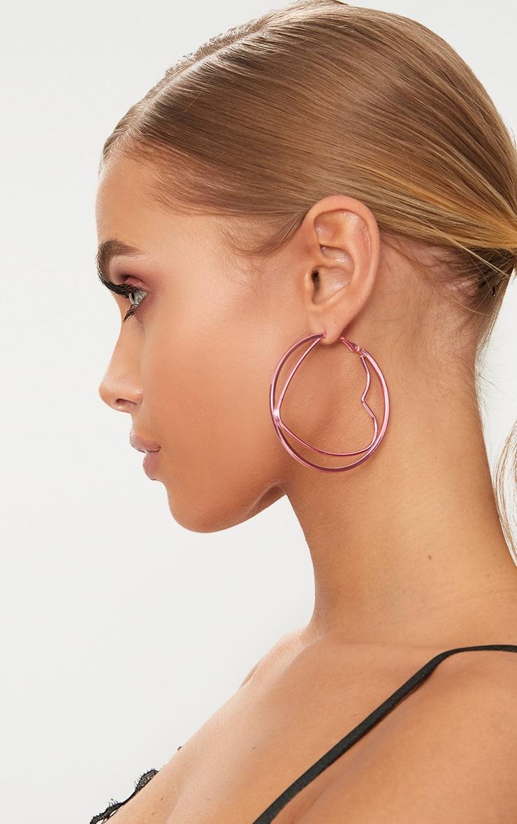 Pink Metal Heart Hoop Earrings 1