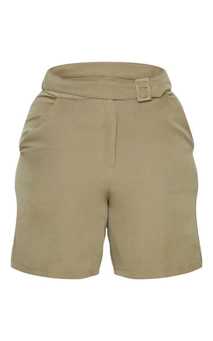 Plus Khaki Utility Tailored Shorts 7