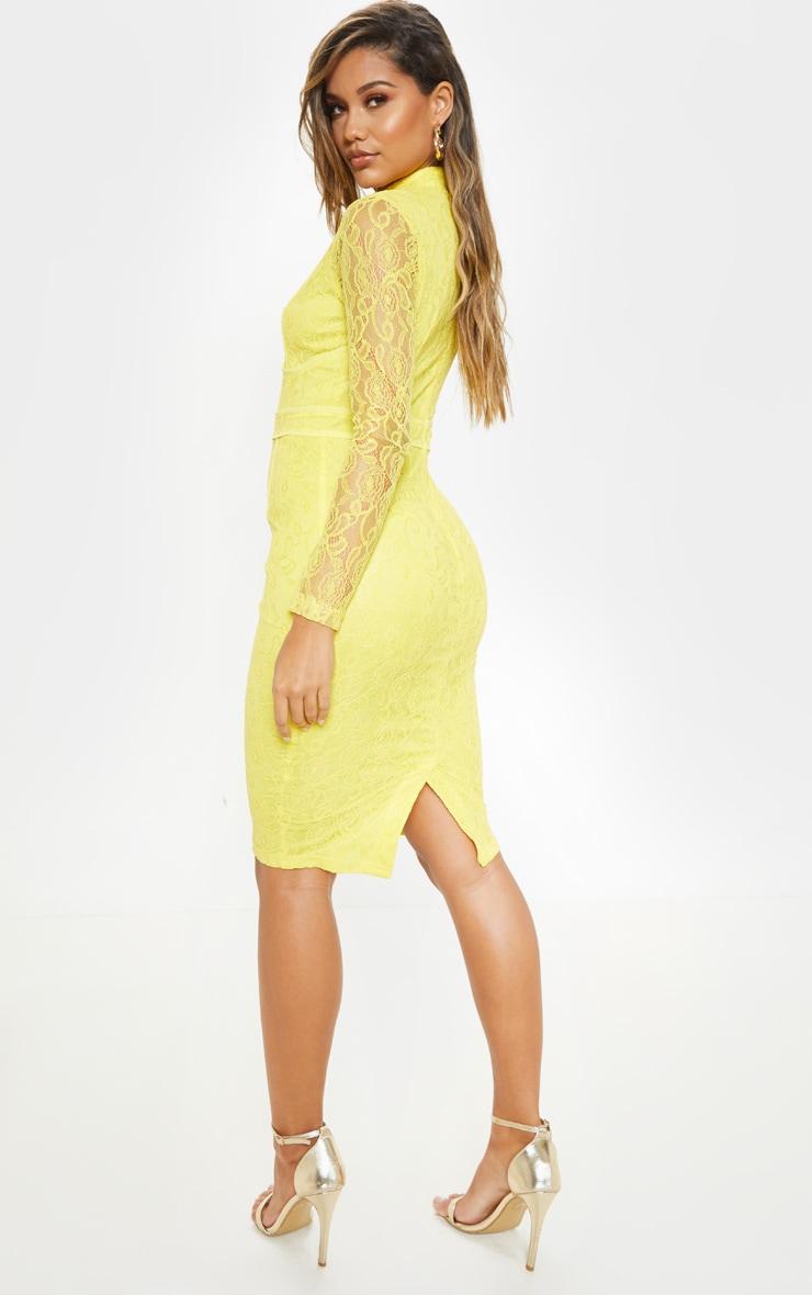 Bright Yellow Lace Binding Detail High Neck Midi Dress 2