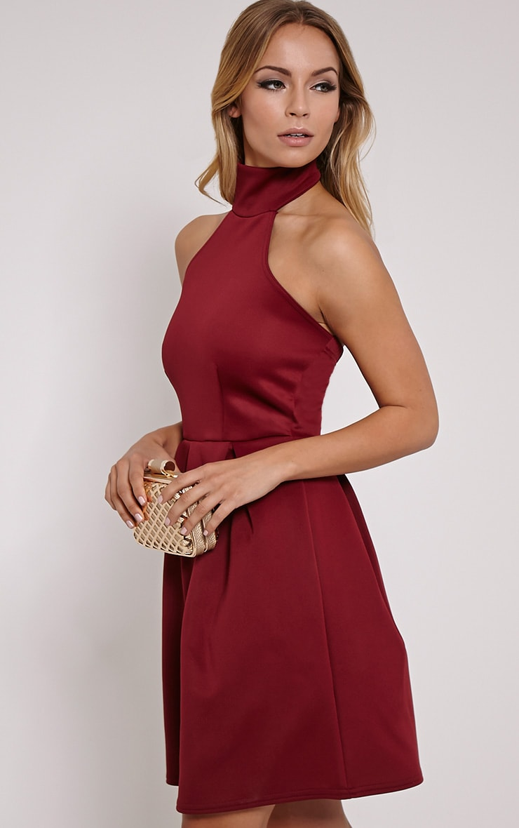 Madeline Wine Halterneck Box Pleat Skater Dress 4