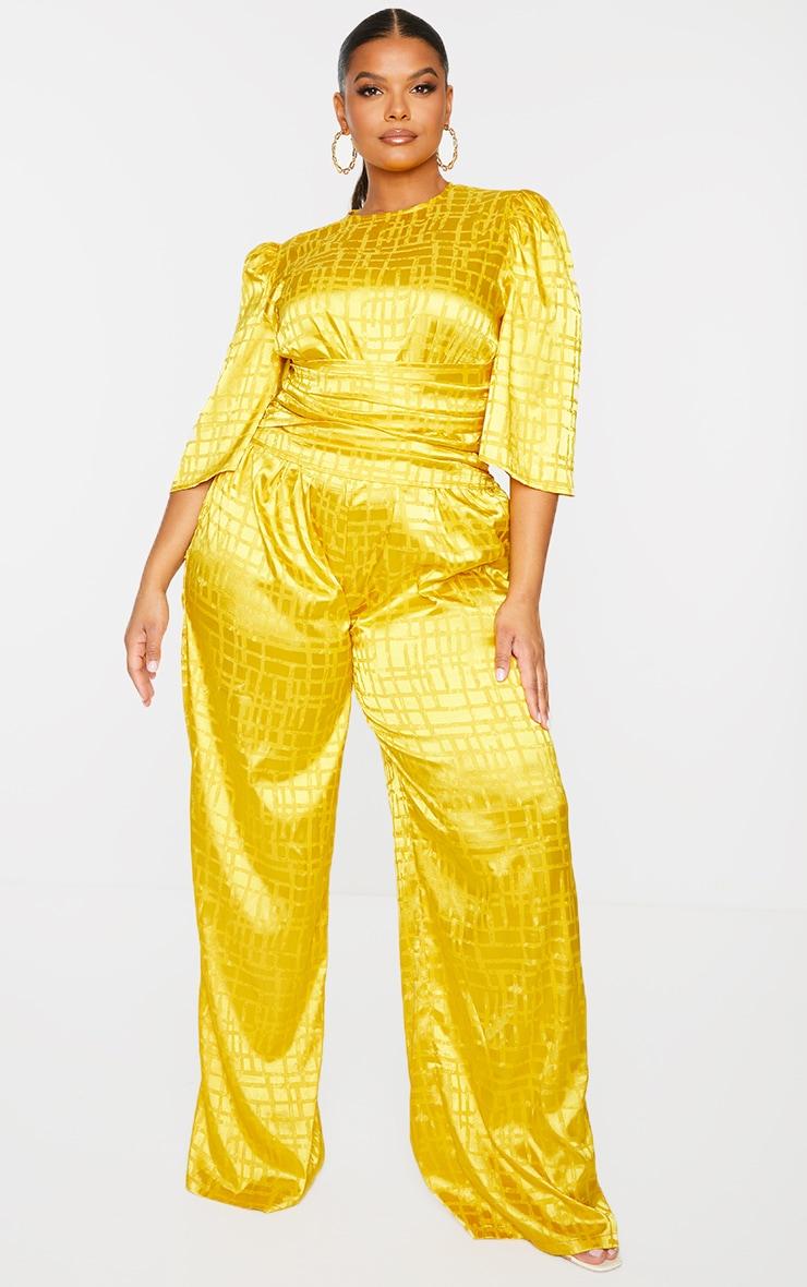 Plus Chartreuse Satin Jacquard Short Sleeve Ruched Jumpsuit 1