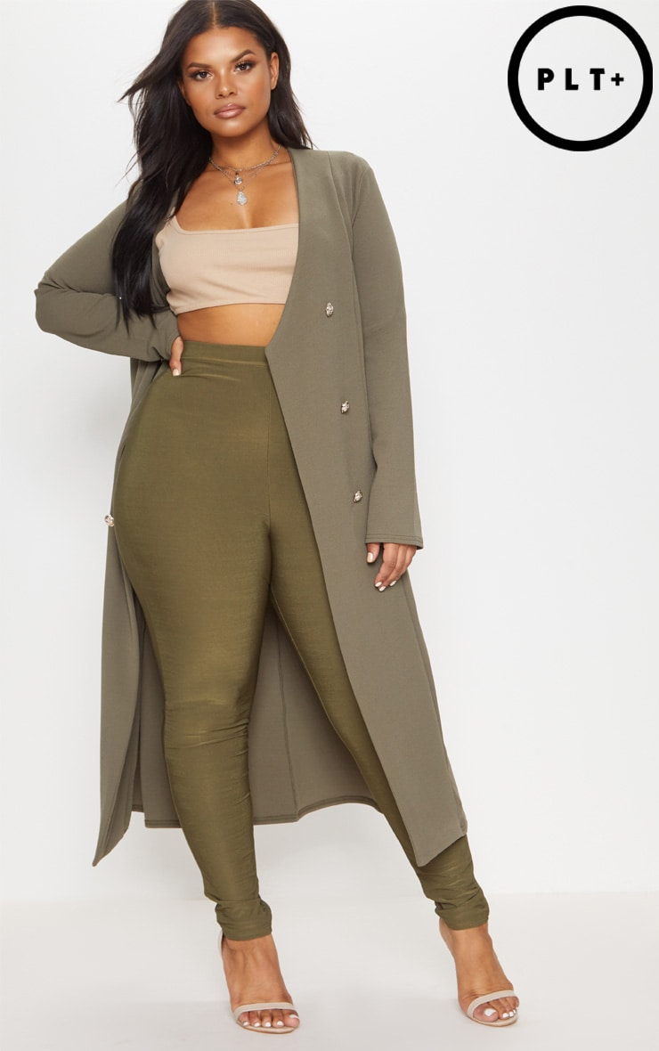 Plus Khaki Military Button Detail Duster Coat