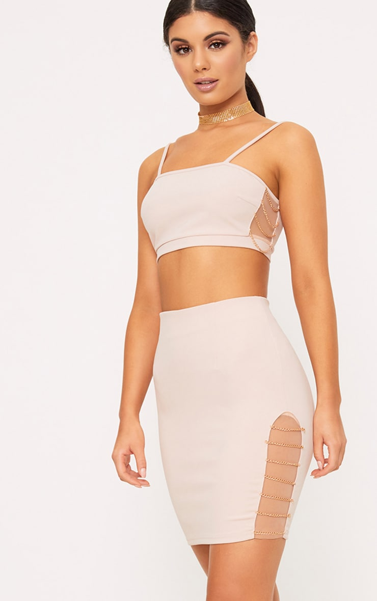 Clea Nude Strappy Chain Detail Crop Top 1