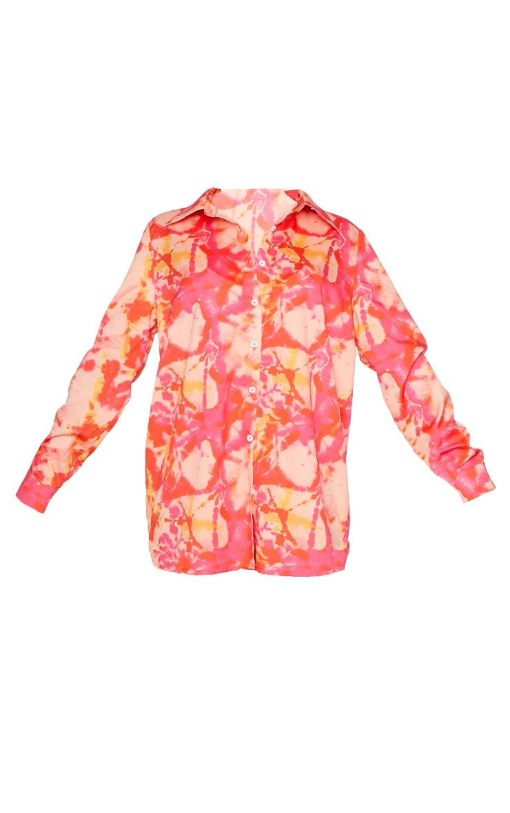 Pink Tie Dye Oversized Beach Shirt 5