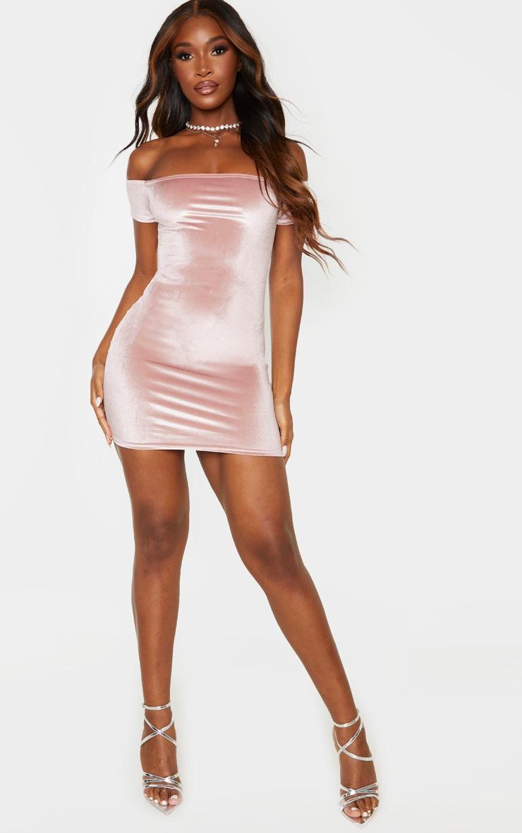 Rose Velvet Short Sleeve Bardot Bodycon Dress 4