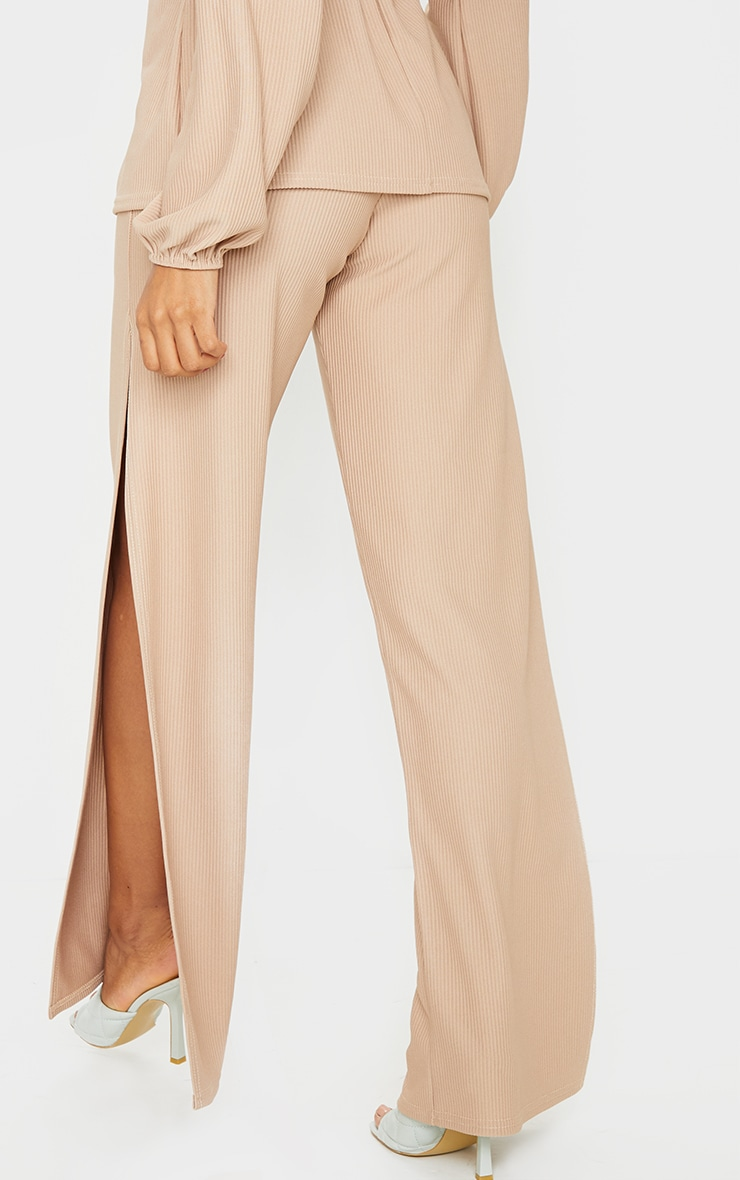 Taupe Wide Rib Split Side Trousers 3