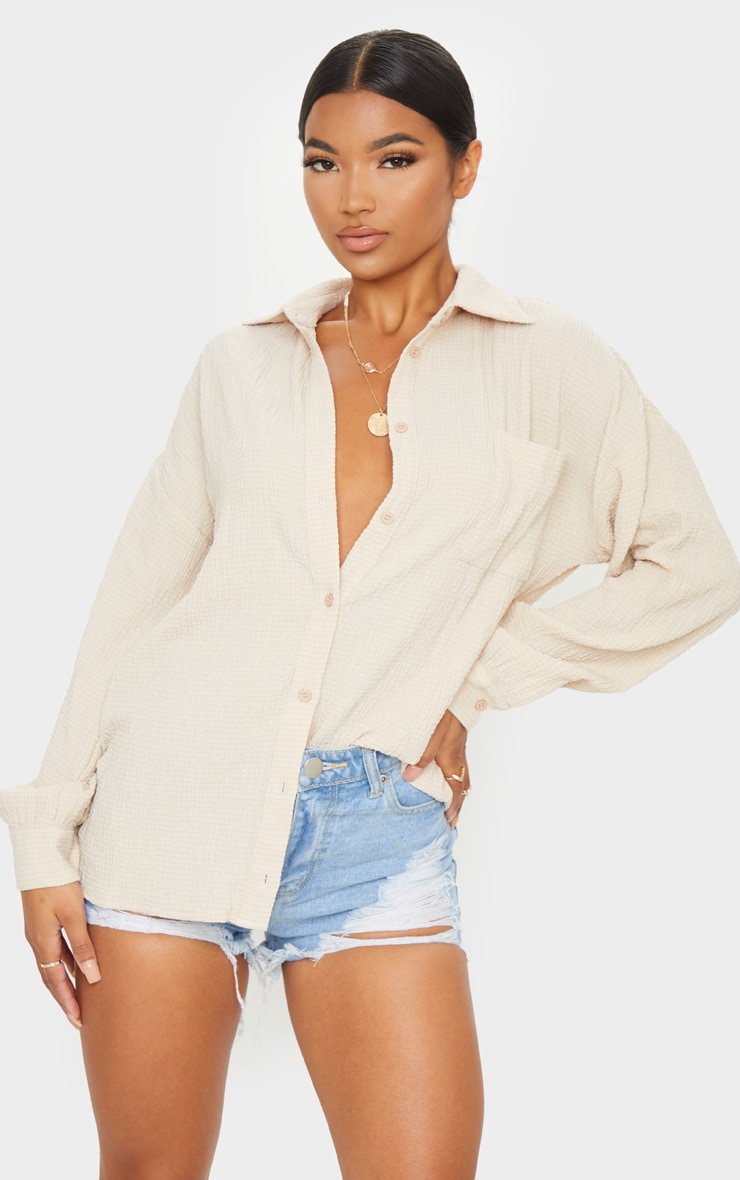 Stone Pocket Front Oversized Shirt 1