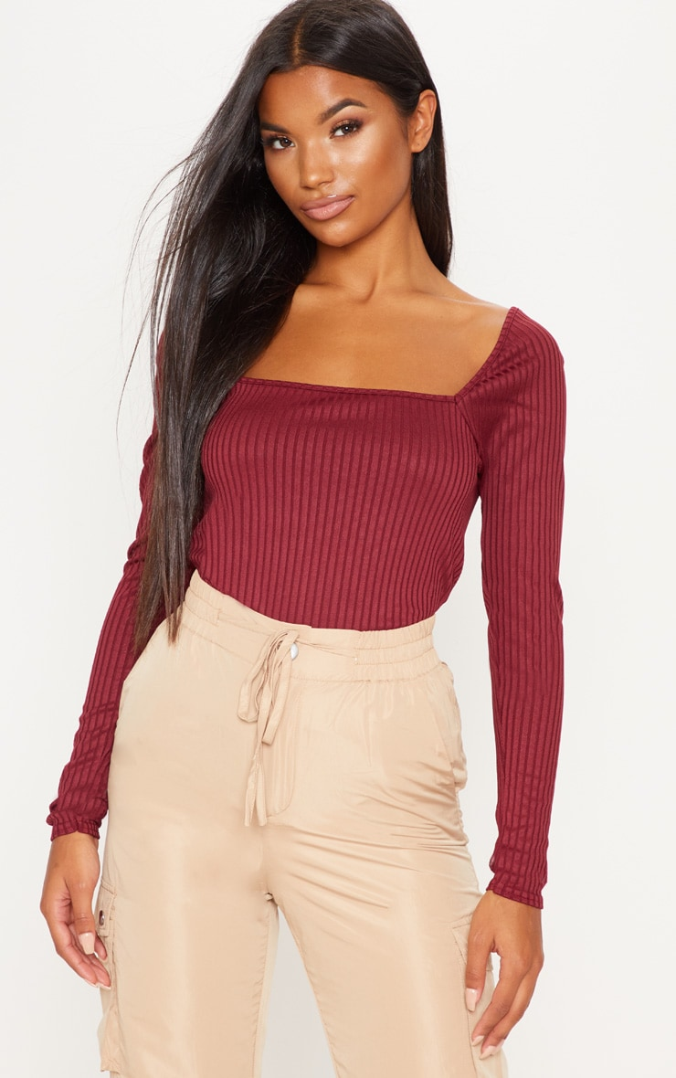 Burgundy Long Sleeve Square Neck Rib Top