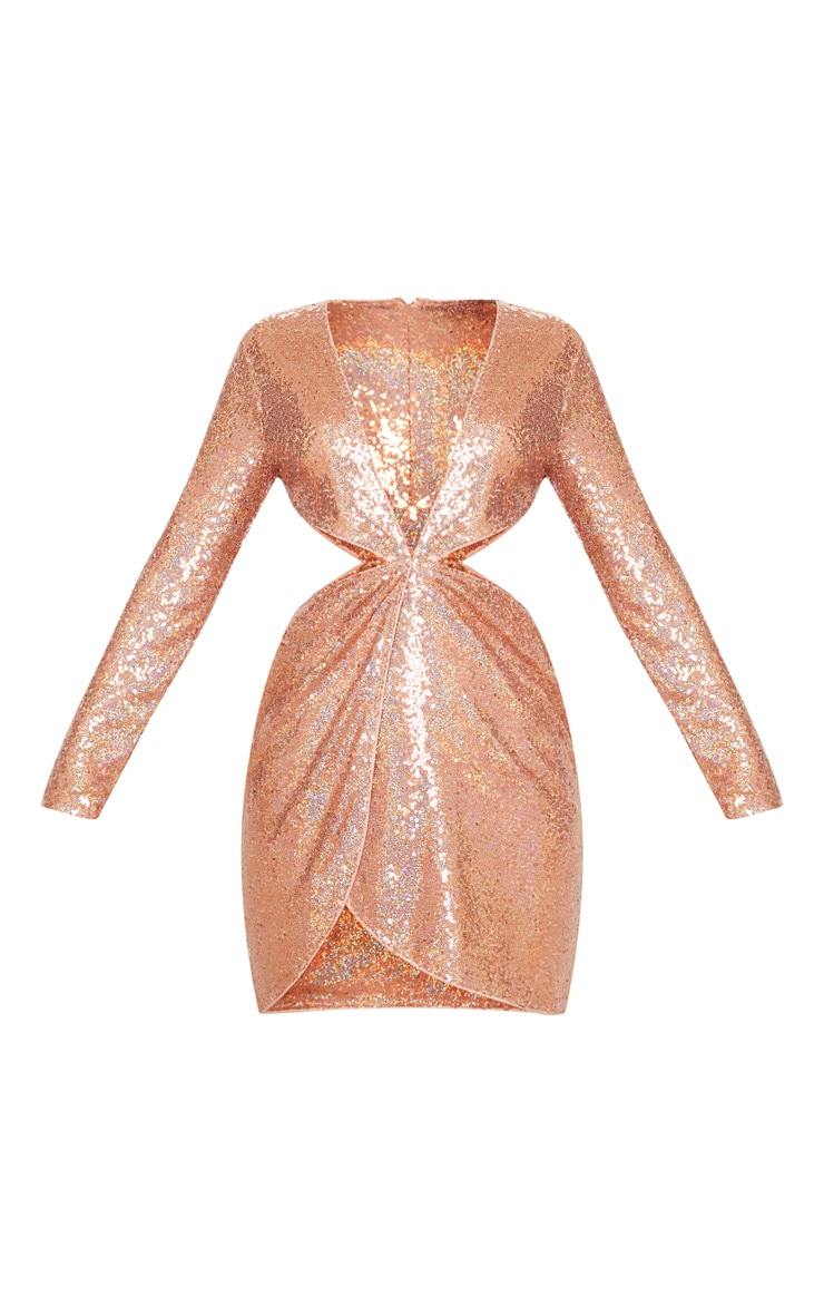 Rose Gold Sequin Long Sleeve Waist Cut Out Bodycon Dress 3